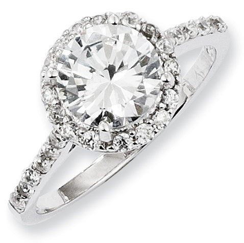 Sterling Silver Round Cut CZ Engagement Round Ring