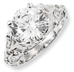 Sterling Silver CZ Side Swirls Ring