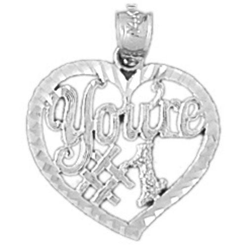 You Are Number One Charm Pendant 14k White Gold