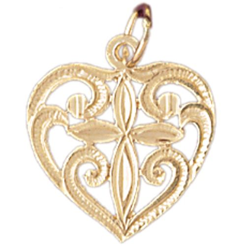 Heart with Cross Charm Pendant 14k Gold