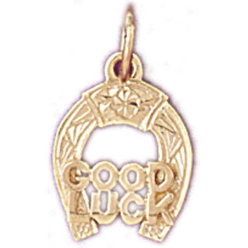 Lucky Horseshoe Good Luck Charm Pendant 14k Gold