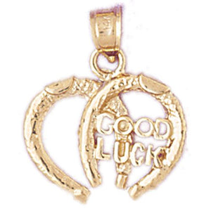 Lucky Horseshoes Good Luck Charm Pendant 14k Gold