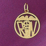 RN Medical Sign Charm Pendant 14k Gold