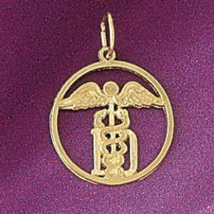 Medical Sign Charm Pendant 14k Gold