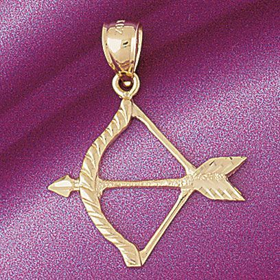 Native American Arrow Shooter Charm Pendant 14k Gold