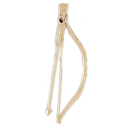 3D Native American Arrow Shooter Charm Pendant 14k Gold