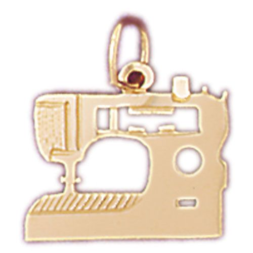 Sewing Machine Charm Pendant 14k Gold