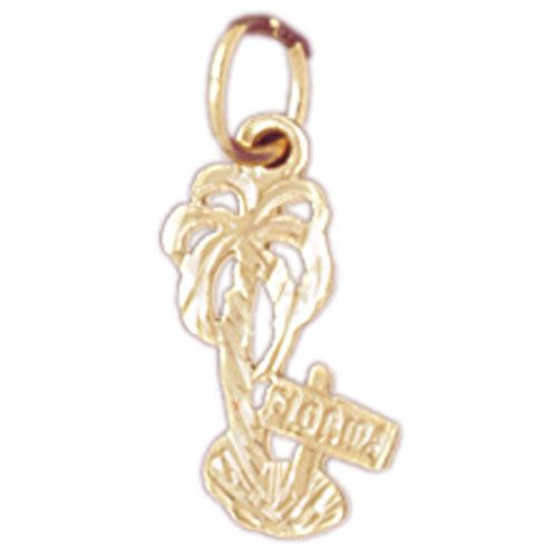 Florida Palm Tree Charm Pendant 14k Gold