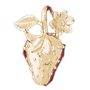Strawberry Charm Pendant 14k Gold