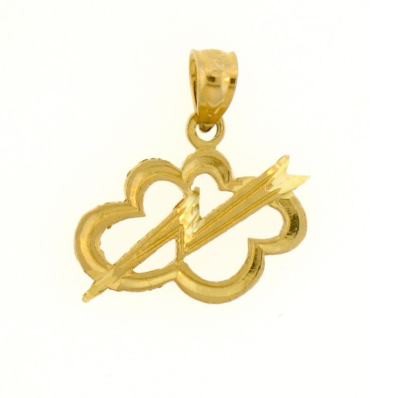 Thunder in Cloud Charm Pendant 14k Gold
