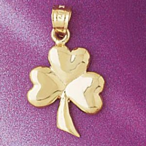 Three Leaf Clover Charm Pendant 14k Gold