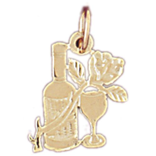 Wine Bottle, Glass and Rose Charm Pendant 14k Gold