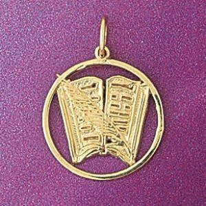 Book Charm Pendant 14k Gold