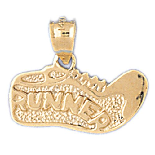 Running Shoe Charm Pendant 14k Gold