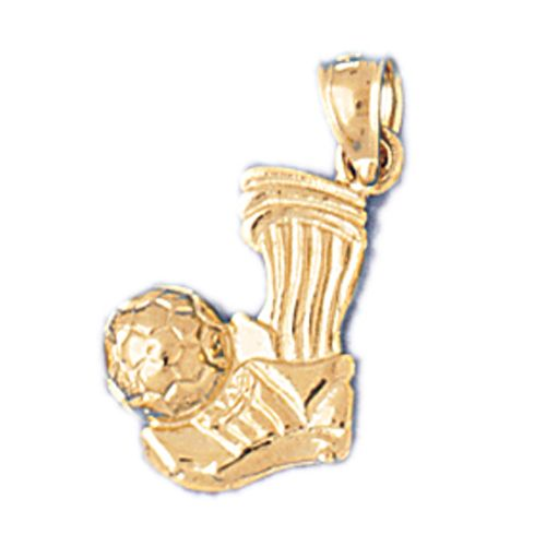 Soccer Ball on Shoe Charm Pendant 14k Gold
