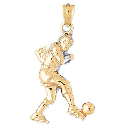 Soccer Player Charm Pendant 14k Gold
