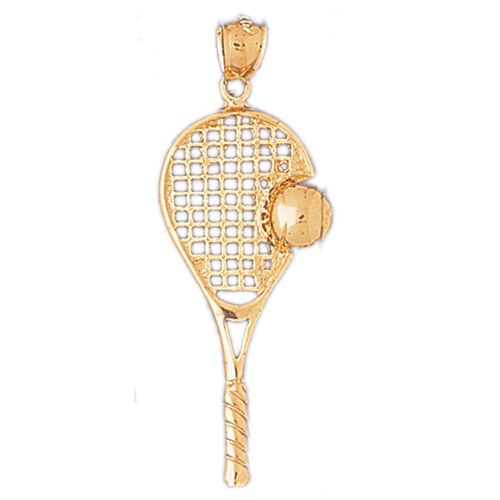 Tennis Racket and Ball Charm Pendant 14k Gold
