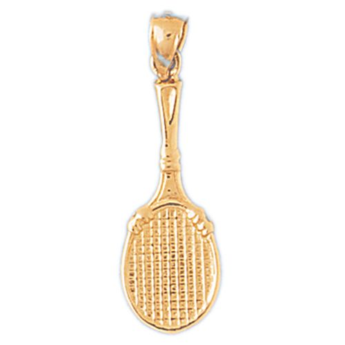 Tennis Racket Charm Pendant 14k Gold