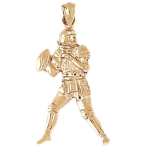 Football Player Charm Pendant 14k Gold