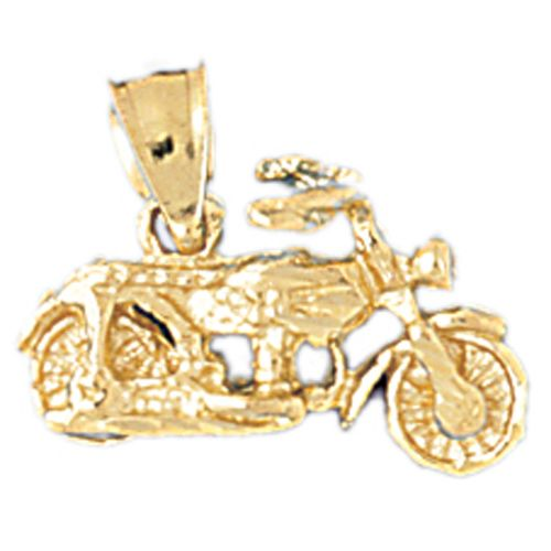 3D Motorcycle Charm Pendant 14k Gold