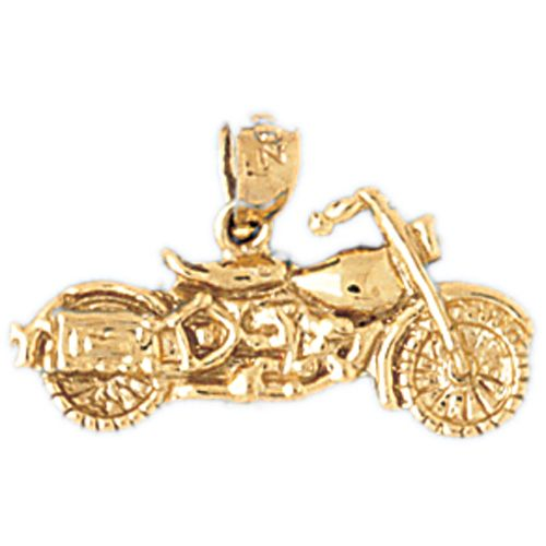 Motorcycle Charm Pendant 14k Gold
