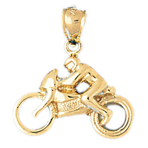Motorcycle Rider Charm Pendant 14k Gold