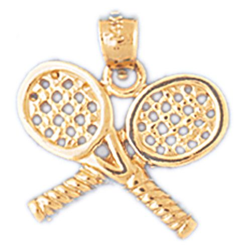 Double Tennis Racket Charm Pendant 14k Gold