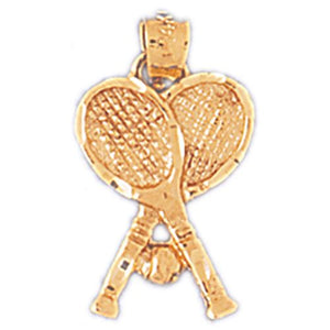 Double Tennis Racket and Ball Charm Pendant 14k Gold