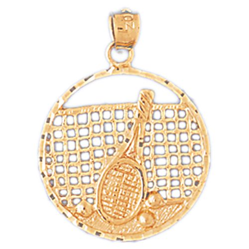 Tennis Racket and Triple Ball in Tennis Court Charm Pendant 14k Gold