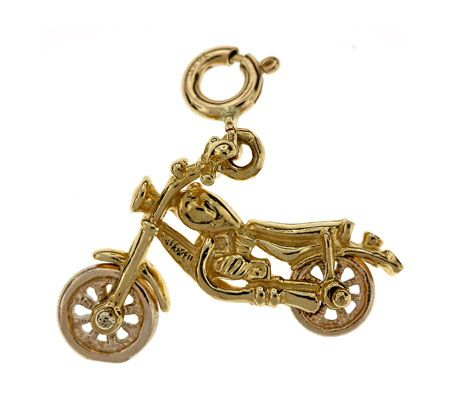 3D Motorcycle Two Tone Charm Pendant 14k Yellow and White Gold
