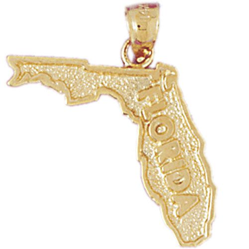 Florida State Charm Pendant 14k Gold