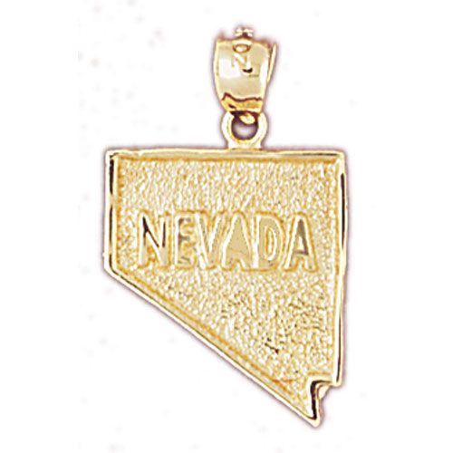Nevada State Charm Pendant 14k Gold
