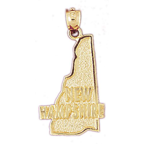 New Hampshire State Charm Pendant 14k Gold