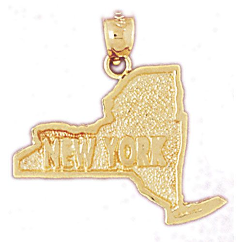 New York State Charm Pendant 14k Gold