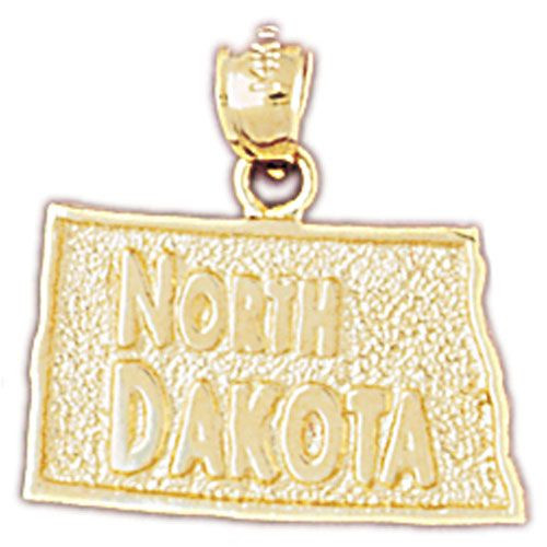 North Dakota State Charm Pendant 14k Gold