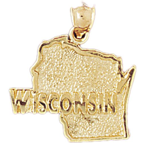 Wisconsin State Charm Pendant 14k Gold
