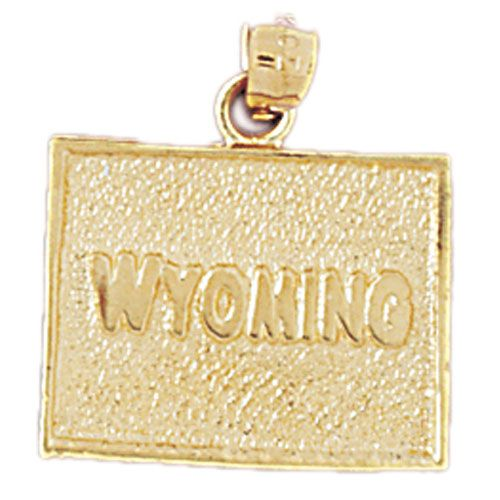 Wyoming State Charm Pendant 14k Gold