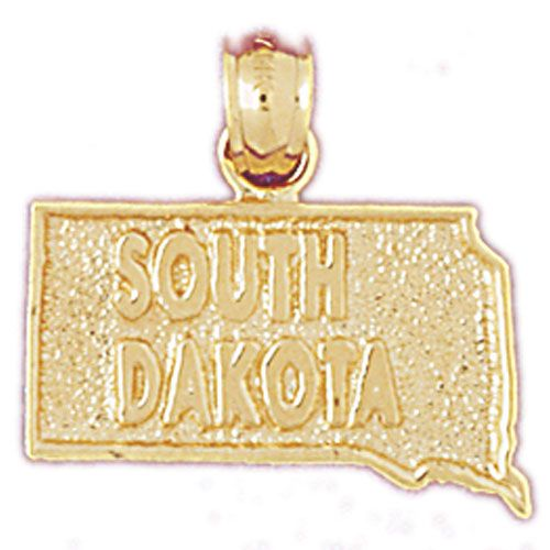 South Dakota State Charm Pendant 14k Gold