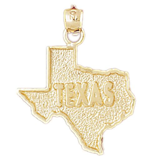 Texas State Charm Pendant 14k Gold