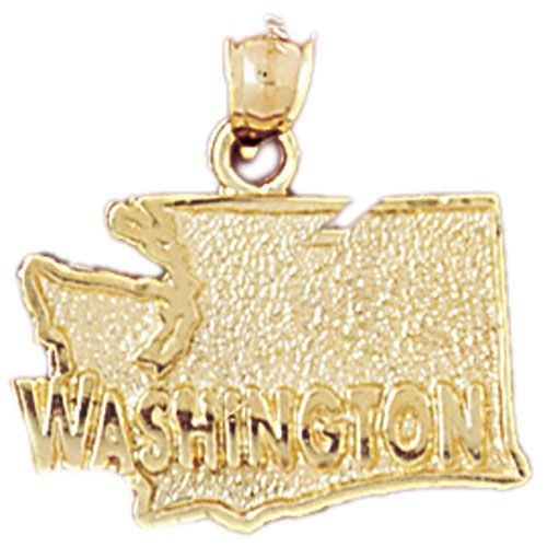 Washington State Charm Pendant 14k Gold
