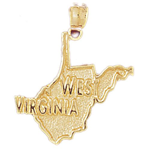 West Virginia State Charm Pendant 14k Gold