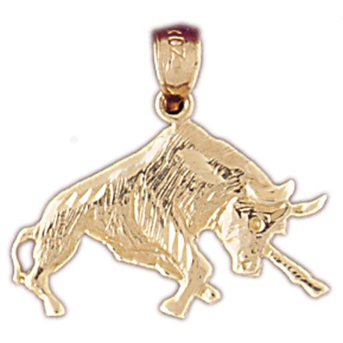 Fighting Bull Charm Pendant 14k Gold