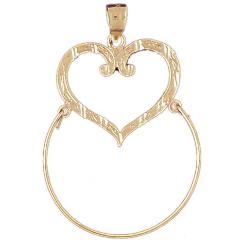 Heart Charm Holder Charm Pendant 14k Gold
