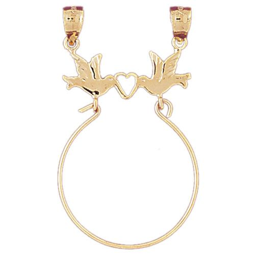 Love Bird Charm Holder Charm Pendant 14k Gold