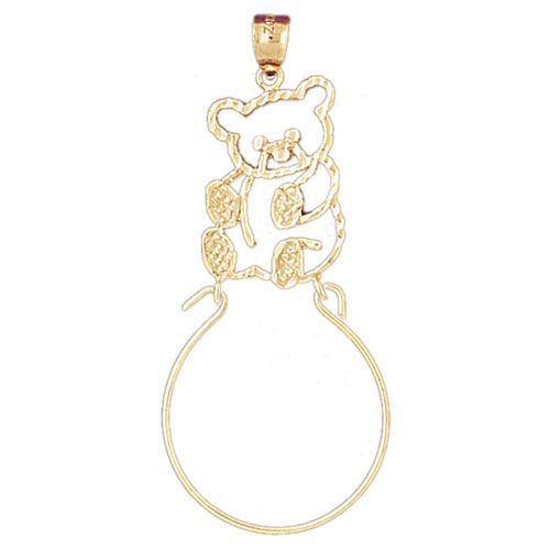 Teddy Bear Charm Holder Charm Pendant 14k Gold