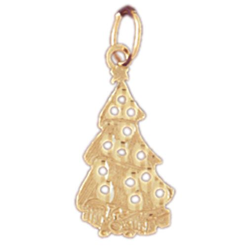 Christmas Tree Charm Pendant 14k Gold