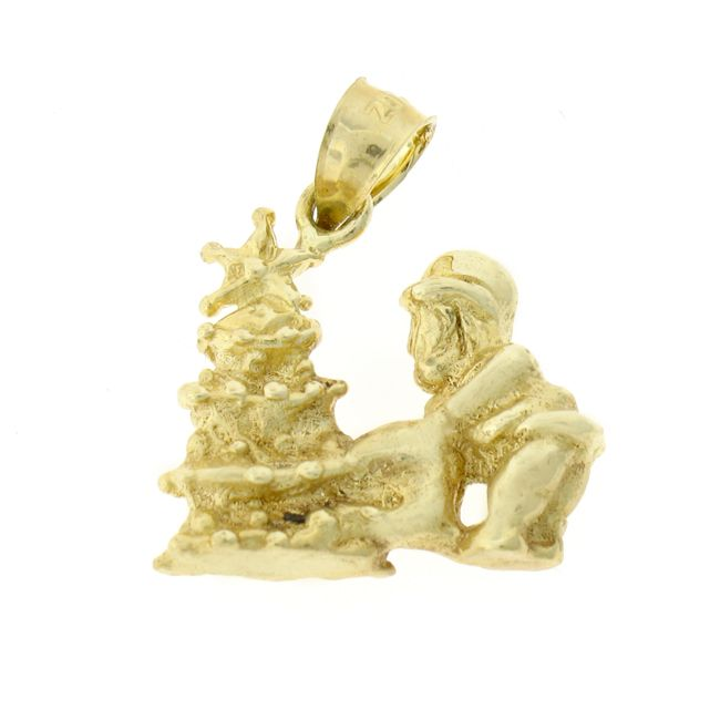 3D Santa Clause And Christmas Tree Charm Pendant 14k Gold