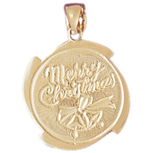 Merry Christmas Charm Pendant 14k Gold