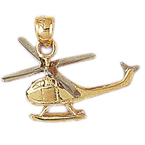 Helicopter Charm Pendant 14k Gold