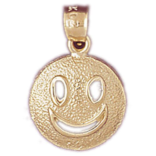 Happy Face Charm Pendant 14k Gold